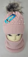 М 5035 Комплект для девочки: шапка+баф ( 3 - 12 лет), кашемир, флис, разные цвета, фото 1