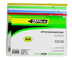 Папка прозрачная A4 PVC на молнии 4-207, 4OFFICE