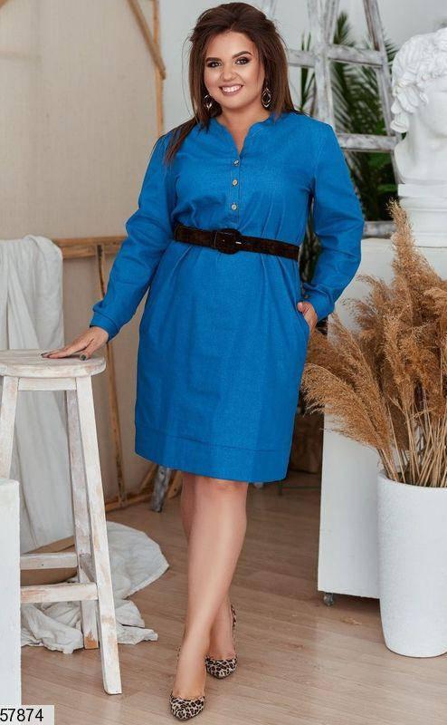 Женское джинсовое платье больших размеров ярко синее, фото 2