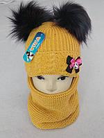 М 5037 Комплект для девочки шапка +баф (3 -8 лет), кашемир, флис, фото 1