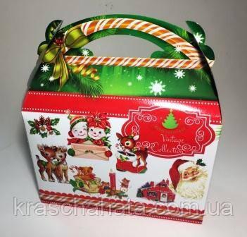 Новогодняя коробка,  Новогодний саквояж с ручкой, 800 гр, Картонная упаковка для конфет