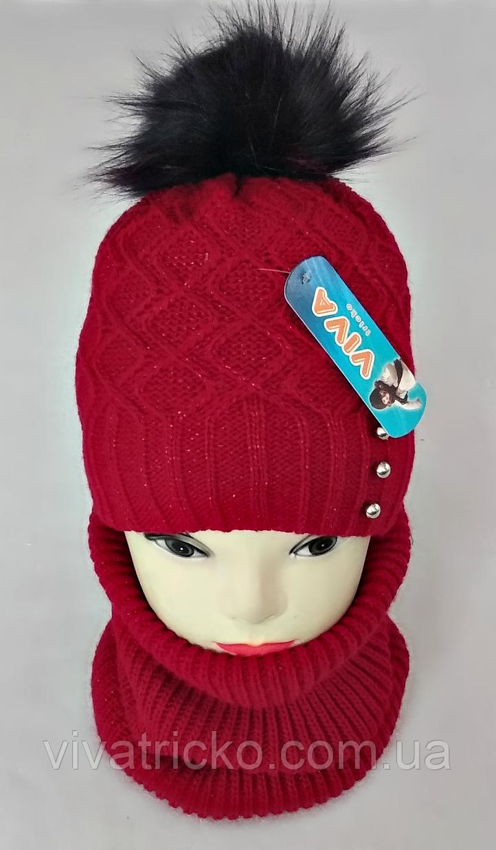 М 5039 Комплект для девочки: шапка та баф, кашемир, флис