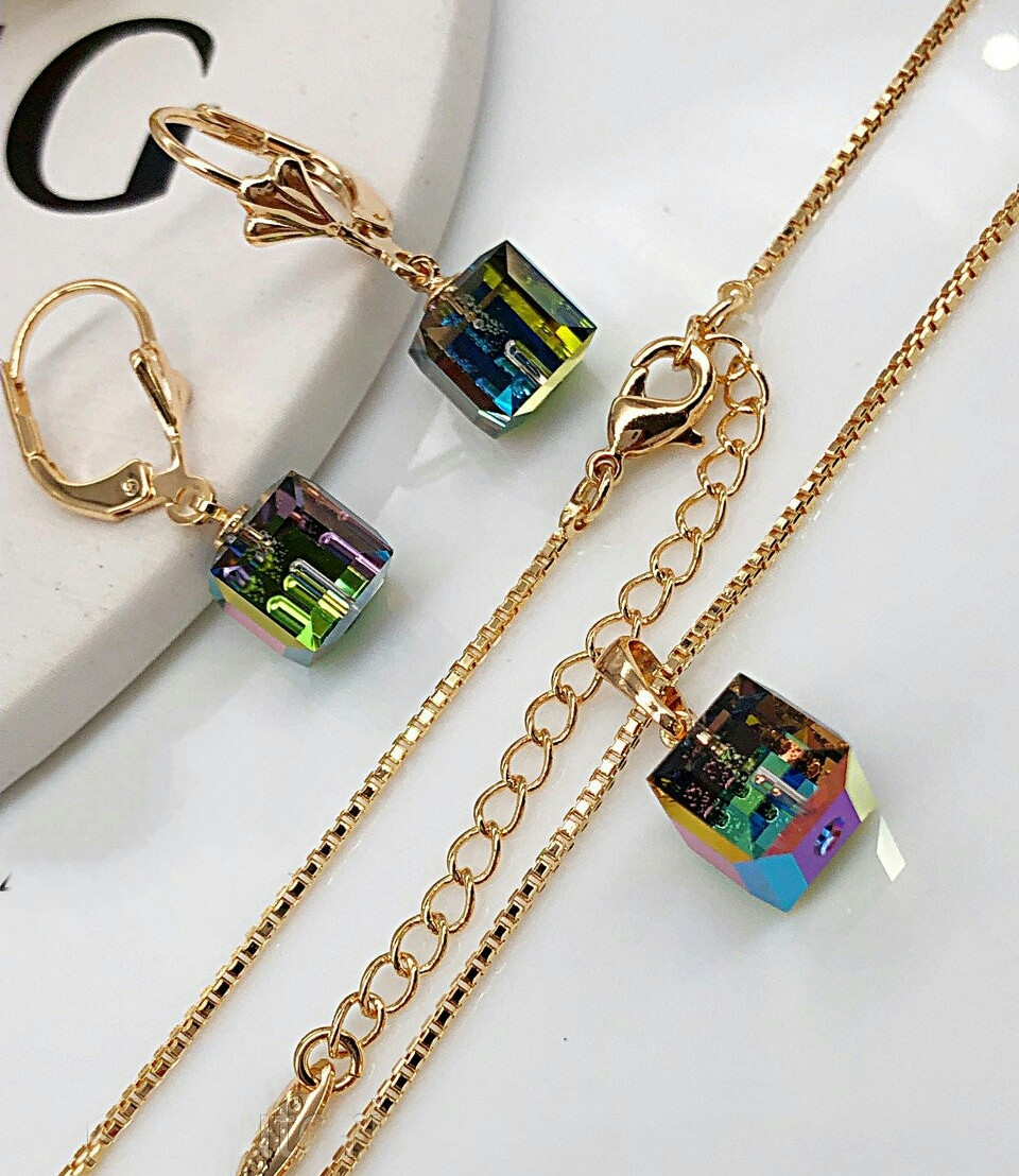 Женский комплект украшений из медицинского золота, кристаллы Swarovski