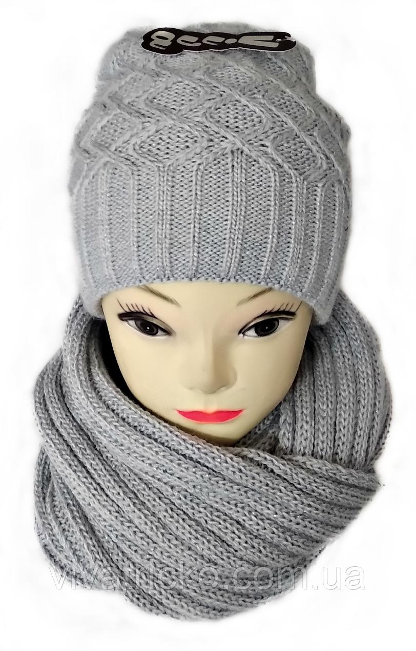 М 5040 Комплект женский с люрексом: шапка буратино и хомут-восьмерка, марс