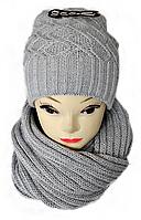 М 5040 Комплект женский с люрексом: шапка буратино и хомут-восьмерка, марс, фото 1