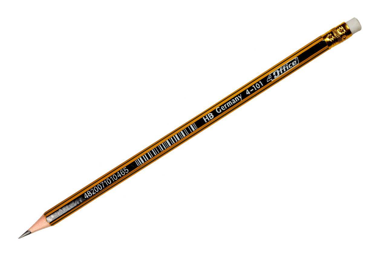 Карандаш графитный HB с ластиком 4-101 4OFFICE
