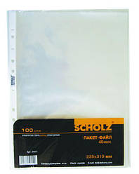 Пакет-файл, A4, PP, 40мкн.,прозр., уп.20шт., 5011, Scholz