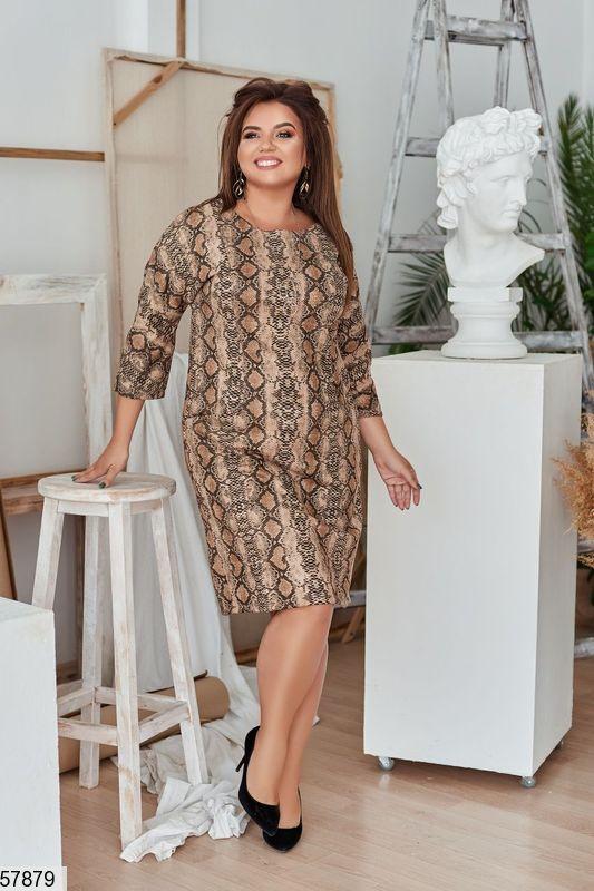 Красивое замшевое платье больших размеров с принтом
