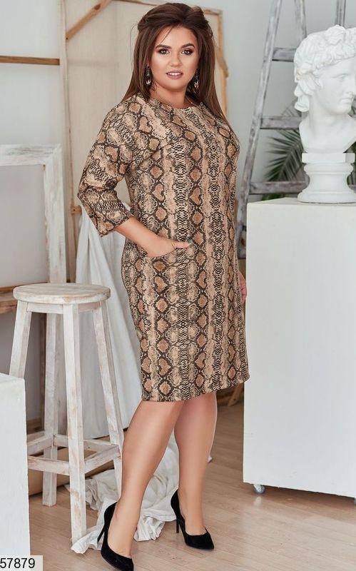 Красивое замшевое платье больших размеров с принтом, фото 2