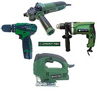 Набор электроинструмента  Craft-tec 4в1: Болгарка, Дрель, Аккумуляторный шуруповерт, Лобзик.