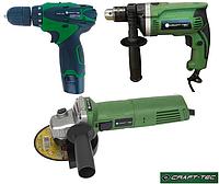 Набор электроинструмента Craft-tec 3в1: Болгарка, Дрель, Аккумуляторный шуруповерт