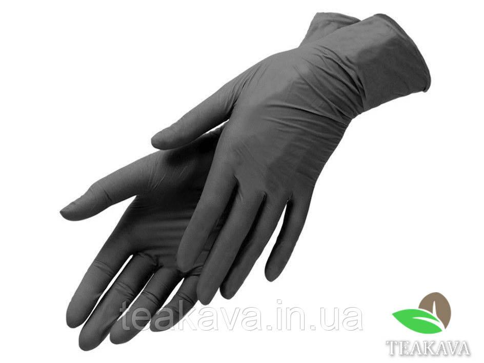 Перчатки нитриловые чёрные, размер М, 100 шт