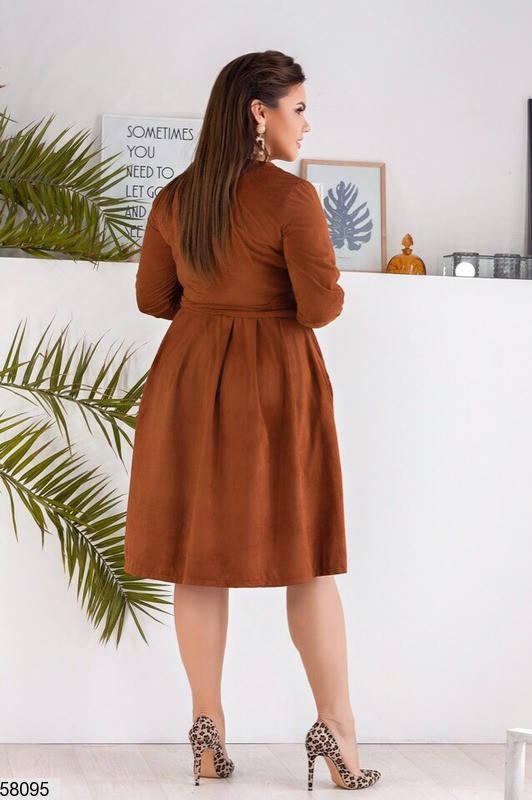 Замшевое платье-миди больших размеров коричневое, фото 2