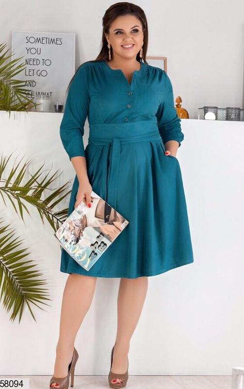 Замшевое платье-миди больших размеров бирюзовое