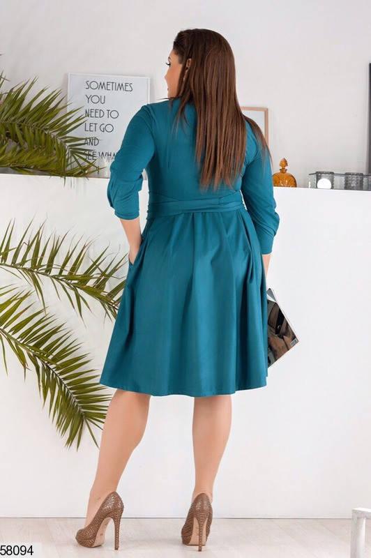 Замшевое платье-миди больших размеров бирюзовое, фото 2