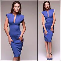 Синее платье с декольте Monro (Код MF-427)