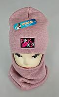 М 5048 Комплект шапка+баф, акрил, флис, разные цвета, фото 1