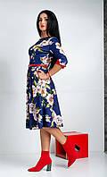 """Женское платье миди """"Пионы"""". Размеры 44,46,48,50,52, фото 1"""