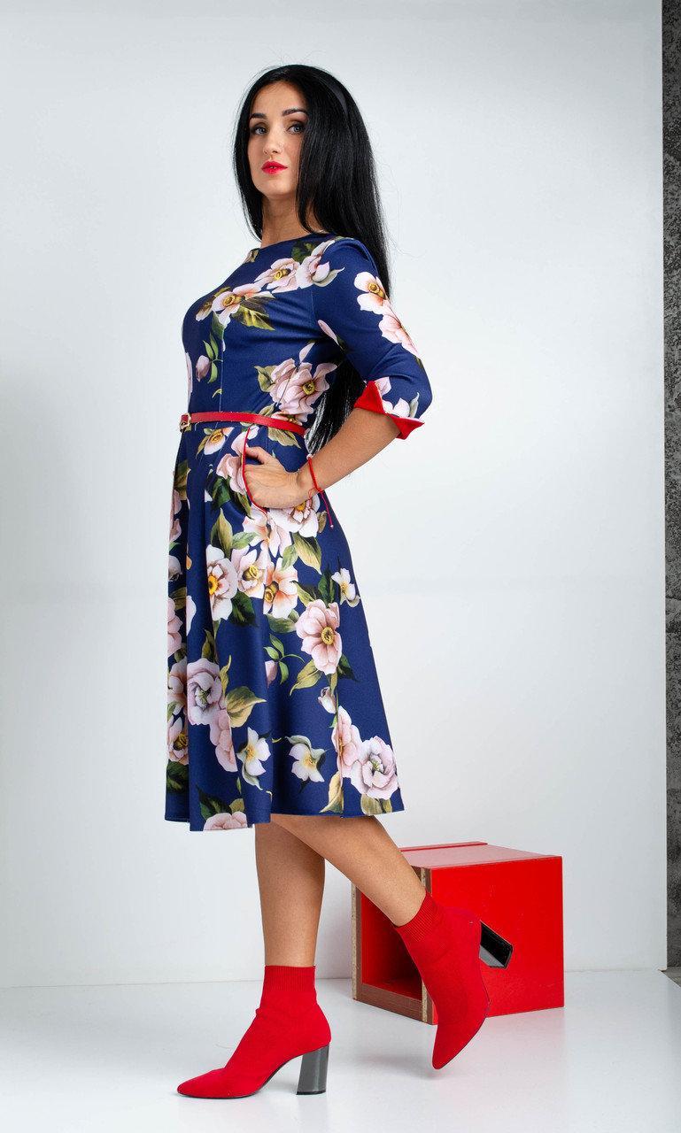 """Женское платье миди """"Пионы"""". Размеры 44,46,48,50,52"""