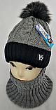 М 5050 Комплект для мальчика: шапка+манишка, акрил, флис, фото 2