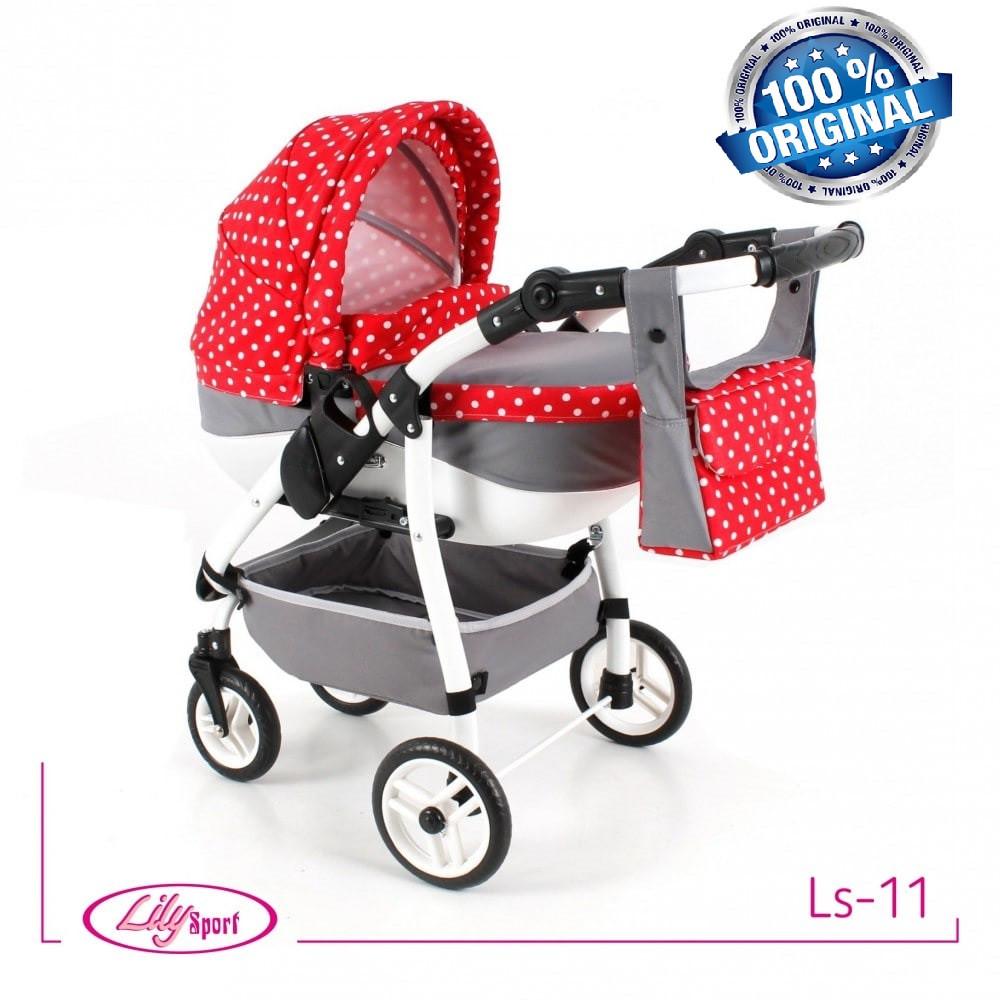 Кукольная коляска LILY SPORT TM Adbor с сумкой в комплекте (Ls-11, серый, горошек на красном)