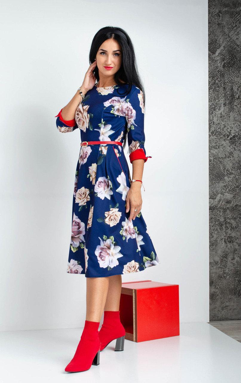 Женское платье миди с розами. Размеры 44,46,48,50,52