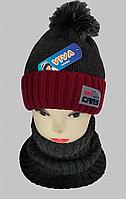 М 5063 Комплект для мальчика:шапка+манишка, акрил, флис, разные цвета