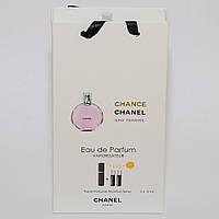 Мини парфюмерия женская Chanel Chance Eau Tendre (Шанель Шанс Тендр) в подарочной упаковке 3х15 ml  DIZ