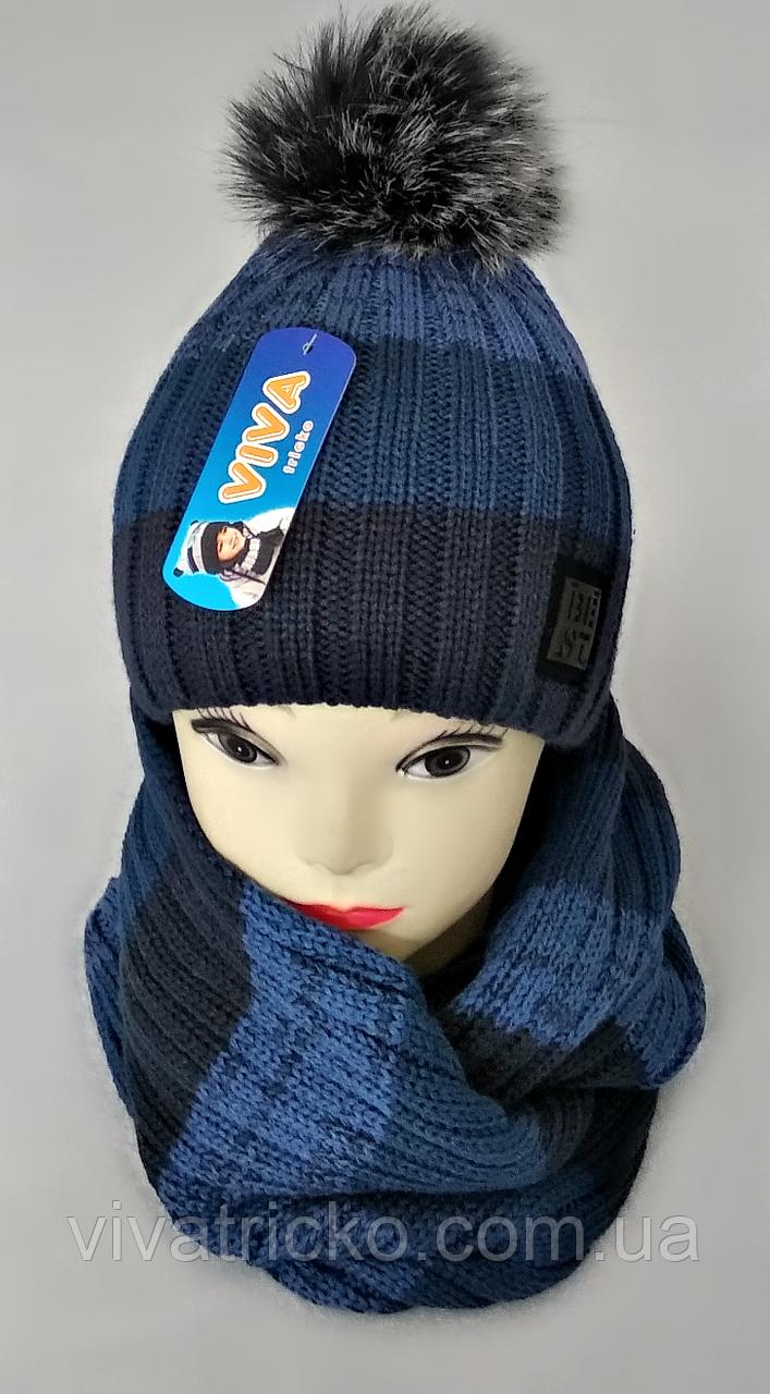 М 5058 Комплект для мальчика :шапка+хомут, акрил, флис, разные цвета