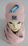 М 5066 Комплект для девочки шапка+хомут, кашемир, двойная