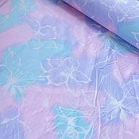 Ткань с белыми цветами на розово-голубом фоне, ширина 220 см