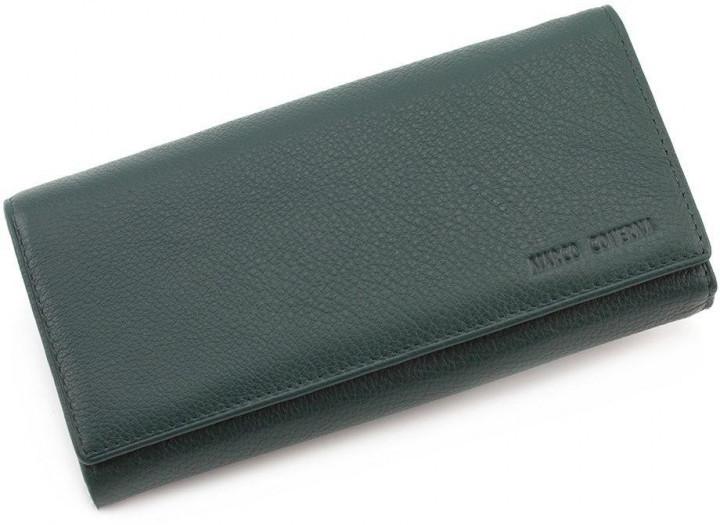Красивый женский кошелек на магнитах из натуральной кожи Marco Coverna в зеленом цвете.