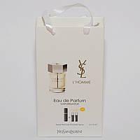 Мини парфюмерия мужская Yves Saint Laurent L`Homme (Эль Хом) в подарочной упаковке 3х15 ml  DIZ