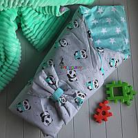 Конверт-одеяло двухсторонний, на съемном синтепоне, Панды