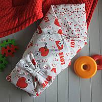 Конверт-одеяло двухсторонний, на съемном синтепоне, Сердечки