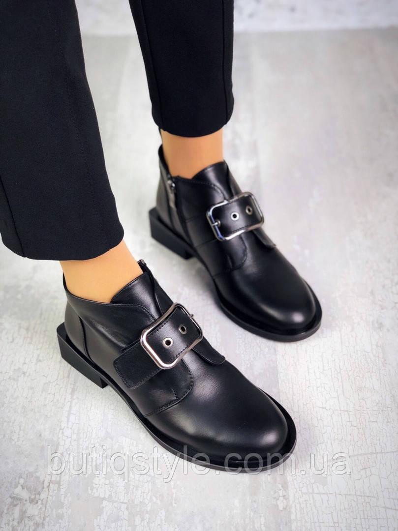 Женские черные ботинки натуральная кожа с ремешком  Деми