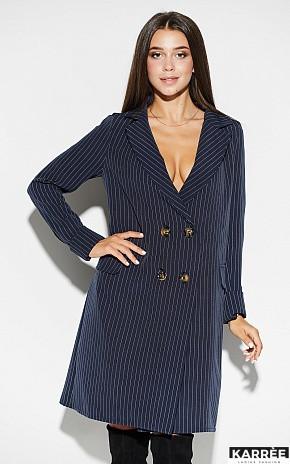 Платье-пиджак средней длины прямого кроя V-образный вырез цвет темно-синий