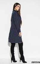 Платье-пиджак средней длины прямого кроя V-образный вырез цвет темно-синий, фото 2