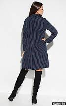 Платье-пиджак средней длины прямого кроя V-образный вырез цвет темно-синий, фото 3