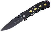 Нож складной компактный, с металлическими накладками рукояти, с цветными анодированными плашками