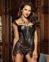 Кожаный корсет на шнуровке черный эротический корсаж с кружевом сексуальный