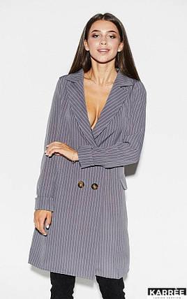 Демисезонное платье на каждый день до колен на пуговицах длинный рукав цвет серый, фото 2