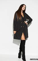Свободное платье-пиджак на пуговицах длина до колен цвет черный, фото 2