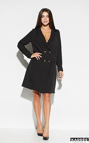 Свободное платье-пиджак на пуговицах длина до колен цвет черный