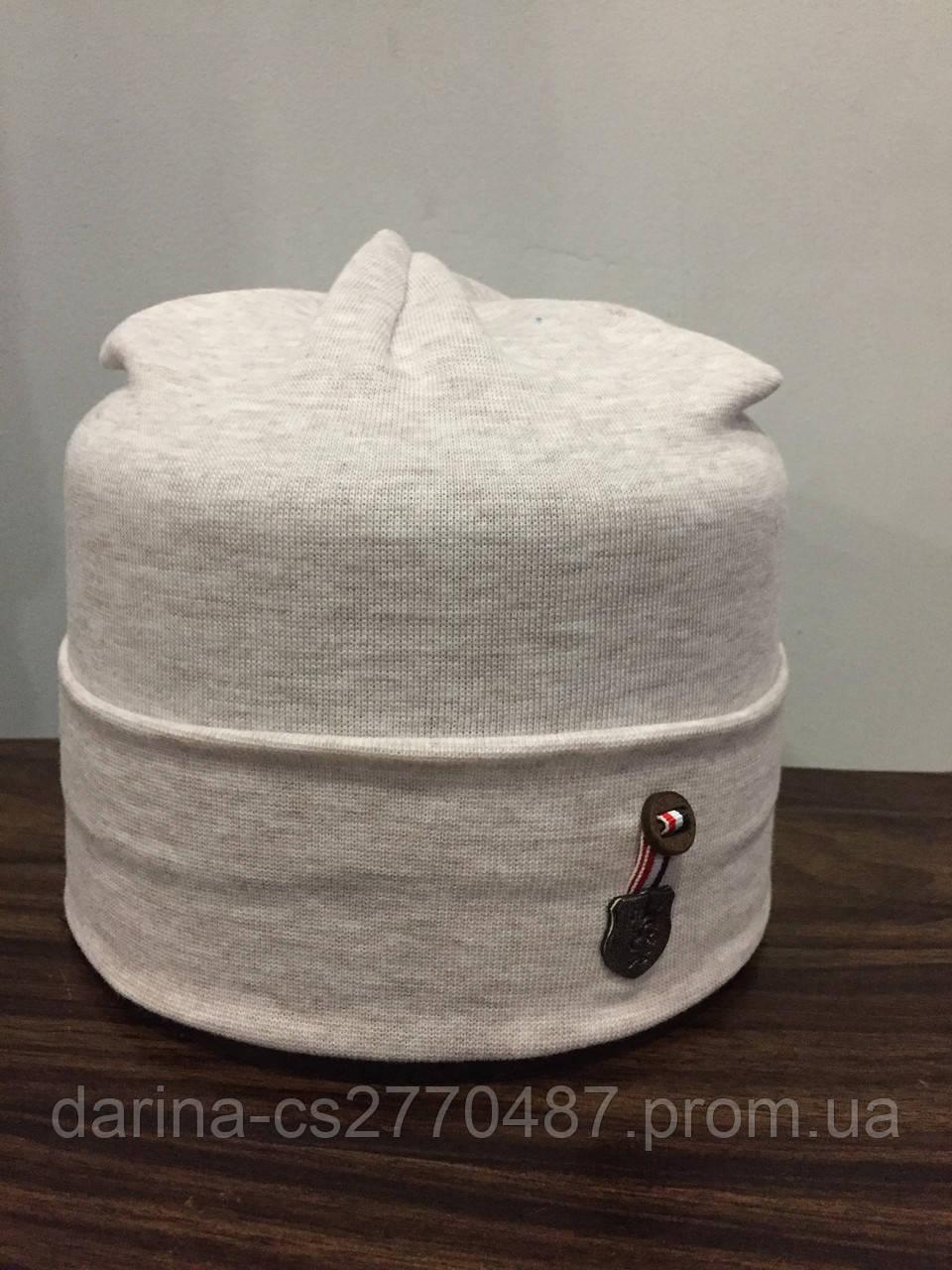 Трикотажная демисезонная шапка для мальчика