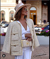 Женский шерстяной пиджак в клетку копия Chanel