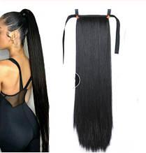 Искусственный черный хвост - длина хвоста 55см, синтетический волос