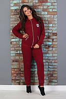 """Женский спортивный костюм """"Батал 01"""" (размер 52, 54, 56) Черный, бордо, фото 1"""