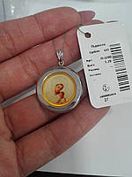 Срібний підвісок ладанка з кольоровим зображеням Божої Матері в асортименті, фото 1