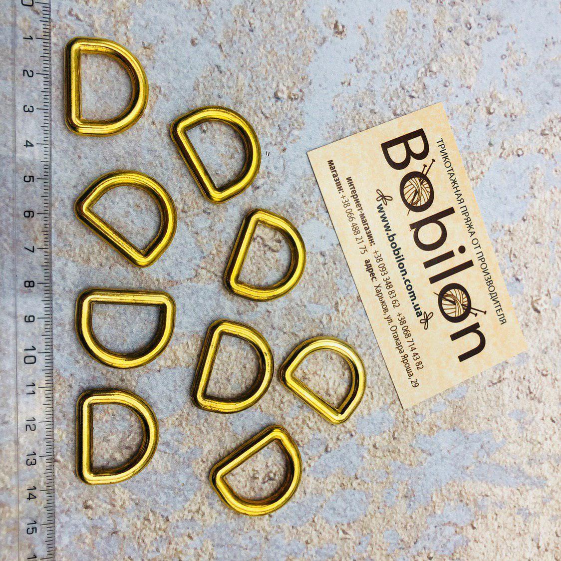 Полукольцо соединительное для ручки сумки 4,9 х 19 х 14,3 мм. Цвет Золото